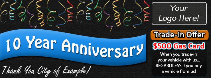 Car dealership anniversary banner