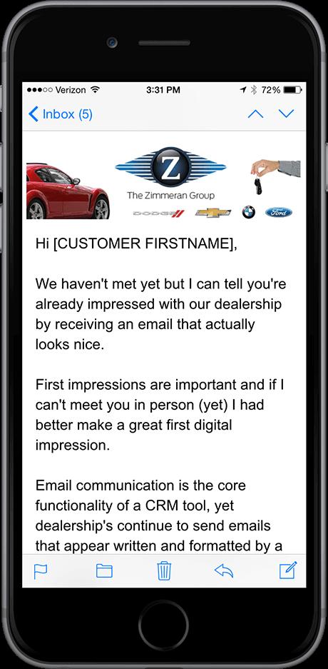 dealer crm mobile email